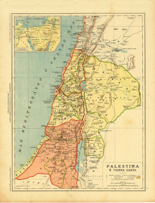 Antique Map Palestine Holy Land 1899 at CarambasVintage http://etsy.me/14Qn2vy