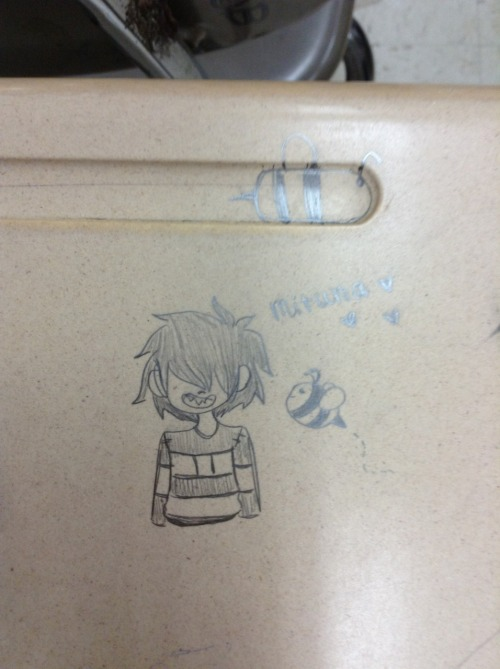 somefin-addicting:  A drawing of Human!stuck Mituna I did on my desk in my 5th period