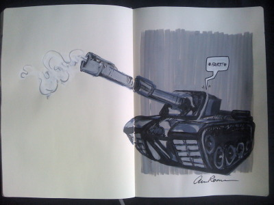 Part of a 30 day drawing challenge. This is day 18: A tank. anneroemer.tumblr.com