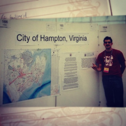 #tbt the 2003 #esriuc - my first map gallery - showing off this sweet @cityofhampton map!  my cartography skills were so misguided at this point in my career :<