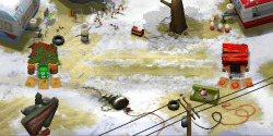 Trailerpark background from the LeftOvers mobile game, a combination of 2D and 3D
