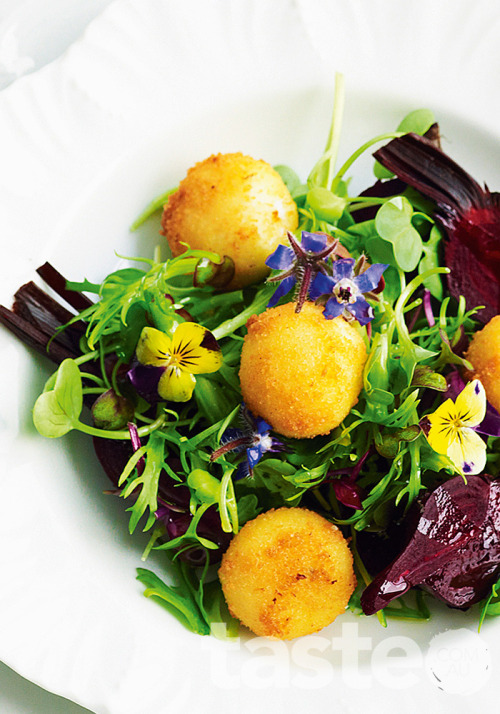 For French flavour at home, try this petite salade with crumbed goat's cheese recipe. (Recipe by Valli Little; Photography by Ian Wallace)