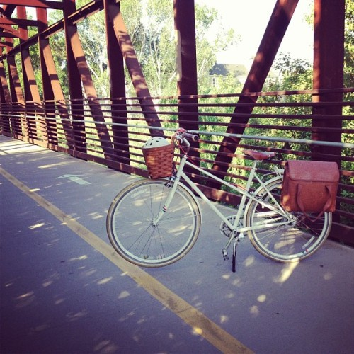 Where's my bike today? On the Guadalupe River, taking me the full 14 miles to work in my dress.