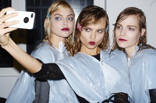 Magda backstage Prada FW 13 photographed by Aitken Jolly