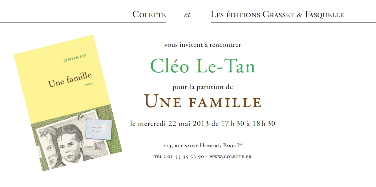 Une Famille by Cleo Le-Tan, book signing at Colette tomorrow from 5:30 to 6:30 p.m. Come and meet the lovely Cleo!