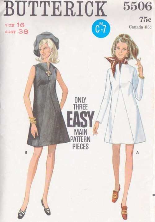 1960s Butterick A-line dress sewing pattern.