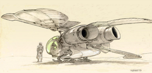 exonauts:  Concept art for Dune ornithopter by Ron Cobb (circa '75)
