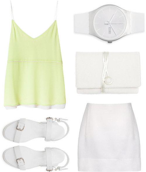 Loving this whiteout fashion collage with a touch of cream yellow.