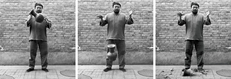 "thenewinquiry:  Dropping a Han Dynasty Urn, Ai Weiwei  ""On the surface level, the photo set appears to mock artistic fetishism: Ai looks like he could not possibly give a fuck as he lets the valuable artifact shatter on the ground. There's a sublime disregard in the pictures; it's art against art like Kruger's sentences are ads against ads. But as an artist, Ai can't destroy art, he can only make more. From one urn, he gets three pictures. If I went into the Hirshhorn, grabbed one of the photos off the wall, and let it fall to ground like I didn't give a fuck, I would be arrested and taken to jail. It's only freedom of expression if you break something you own, otherwise it's vandalism."" - ""U.S.Ai"" by Malcolm Harris"