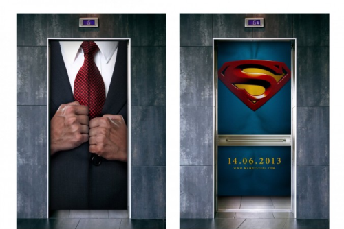 comicsalliance:  Parting Shot: This Fake 'Man Of Steel' Ad Needs To Be Real By Joseph Hughes At Comic-Con in 2008, I stepped onto a hotel elevator and instantly found myself in the sky. At least, it felt that way. It was actually a very creative ad for Pixar's Up that involved painting the inside of the elevator to look like the sky from the film, with Carl's balloon-powered flying house in the corner, looking to be off in the distance. The ad always stuck with me, as I thought it was an imaginative — and very effective — way to promote a film, and easily the best use of advertising in an elevator I'd ever seen.That is, until I saw this proposed ad for this summer's Man of Steel, submitted to the Chip Shop Awards by Jon Massey and Ryan Brown. Massey and Brown take advantage of elevator design to present the classic image of Clark Kent opening his shirt to reveal the Superman logo underneath. READ MORE