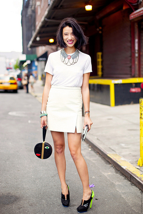 It Girl: Lily Kwong Lily is an inspiration - both to us and Kate Young. Take a walk in her killer shoes and you'll find that not only may she be the smartest girl in fashion (she graduated Summa Cum Laude from Columbia) but she's deeply devoted to a non-profit she started with her father, Nuvana. She does it all, and with a killer smile.  image via: http://www.nyccurbappeal.com/2012/10/nyfw-ss13-lily-kwong.html