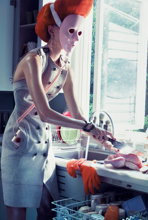 cutesy:  Liisa Winkler in Home Work for Vogue US December 2007 photographed by Steven Klein