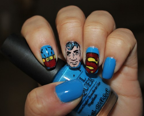 Superman, Man of Steel, using OPI's Ogre the Top Blue<3 Enjoy!