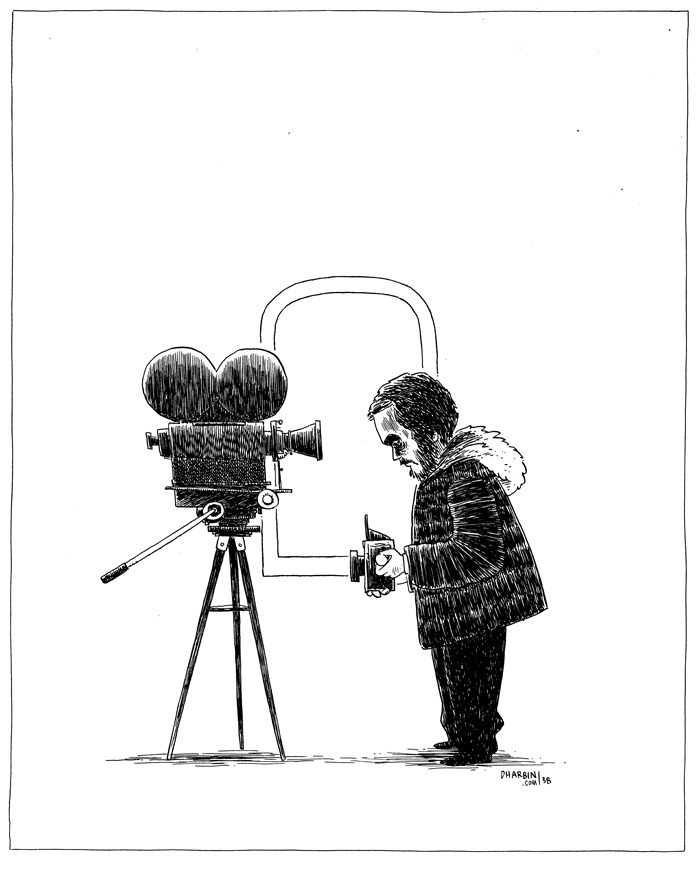 "KUBRICK SELFIE. An ""Hour Drawing,"" available to purchase here, and the 200+ set of them so far here. Subject suggestion for this one was ""Stanley Kubrick scheming."" I'll be reopening sales on these drawings, at a slightly increased price, on Monday, May 6. So if you've been waiting, get ready—in order to control demand (and workload), I'll only be taking 10 orders. Also this week I launched this new print, along with a week long sale."
