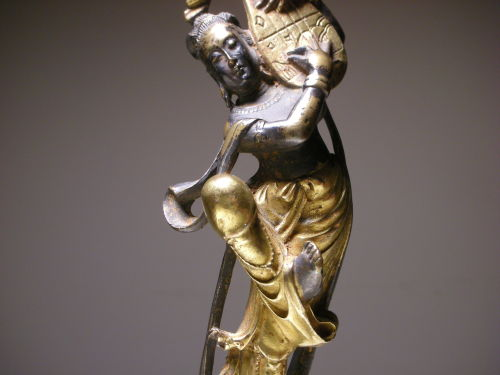 "Vintage Chinese metal figurine. Lady fairy playing the lute. Circa: 20th century, China. Height: 10"" inches"