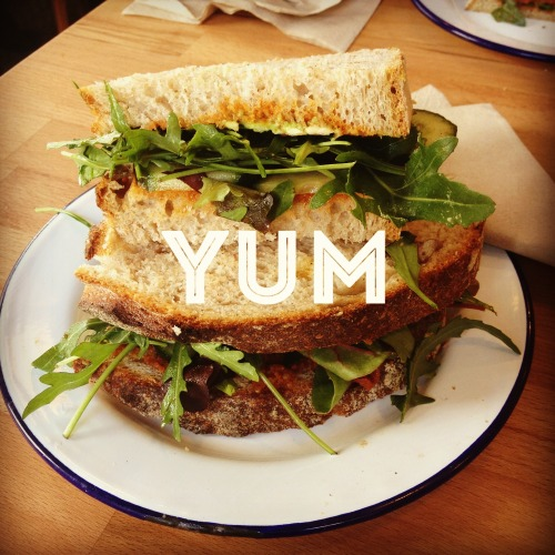 Red pesto, rucola and avocado sandwich on sourdough from Bodega 50.