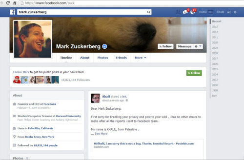 """Dear Mark Zuckerberg, I'm sorry for breaking your privacy and post to your wall.""  Hacker posts on Mark Zuckerberg's Facebook wall to point out security flaw"