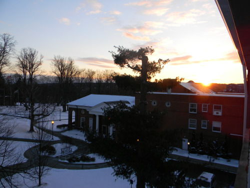 "Student Cody Slevin '16 took this gorgeous photo of sunset at Thiel this winter. It's a great photo but we're happy to say ""goodbye winter"" and ""hello summer!"" (Thanks to Cody for the great photos!)"