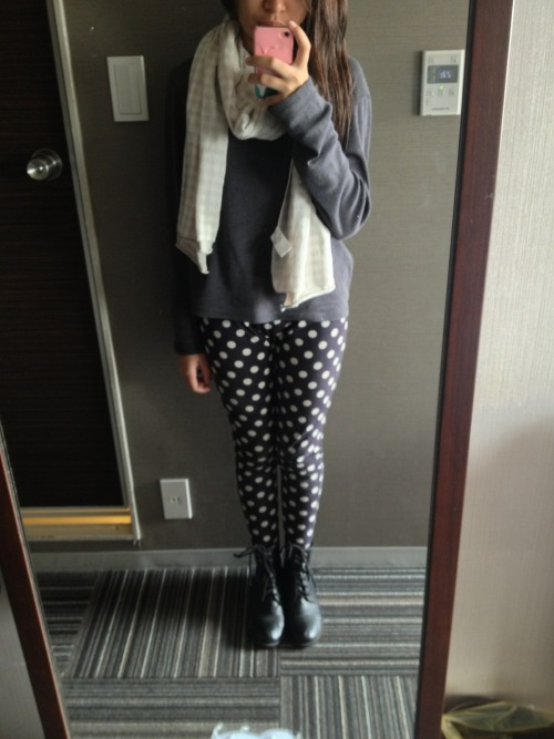 Day 5 (Harajuku) - Outfit Post  Sweater - Bossini Leggings - Augusts Combat Boots - Soda Scarf - Muji