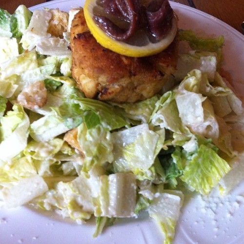 Crabcake with Caesar Salad @ South Carolina Yacht ClubSuper tasty and refreshing lunch salad. Via Foodspotting