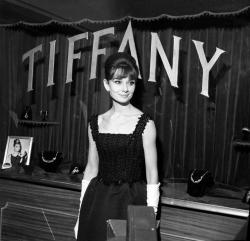 Audrey Hepburn at the Breakfast at Tiffany's premiere. Cinema Fiammetta in Rome, November 1961