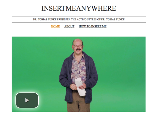"Enter the Inner Sanctum of Tobias Fünke.   Welcome to Dr. Tobias Fünke's Internet Video Audition Reel! I hope you enjoy the deep range of thespian urges that come out in each of my characters. ""Blue Man Group Understudy"" was just the tip of my talent. Feel free to insert me into any available openings — my bits are sure to startle you!"