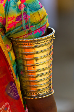 Colors of India ~ Rajasthani woman wearing ornate jewelry, Jaisalmer, Rajasthan, India