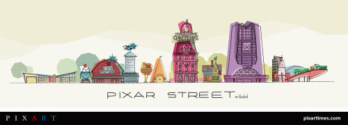 New Artwork Features Pizza Planet, UP House, Monsters, Inc. & More On The Same Street. Get a closer look at the art and the illustrator, Mario Graciotti, here!