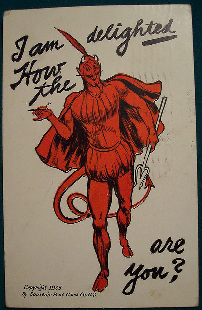 klappersacks:  Vintage Devil Postcard by riptheskull on Flickr.