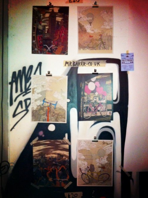 Mr Baker prints up for sale at the recent Stray Cats at the Fruit Palace.. https://www.facebook.com/events/525618287461194/  I had a fantastic time drawing a mural on their walls (photos coming soon I hope) and talking to some really great people - thank you for your support. Hopefully see you all soon for some more! X