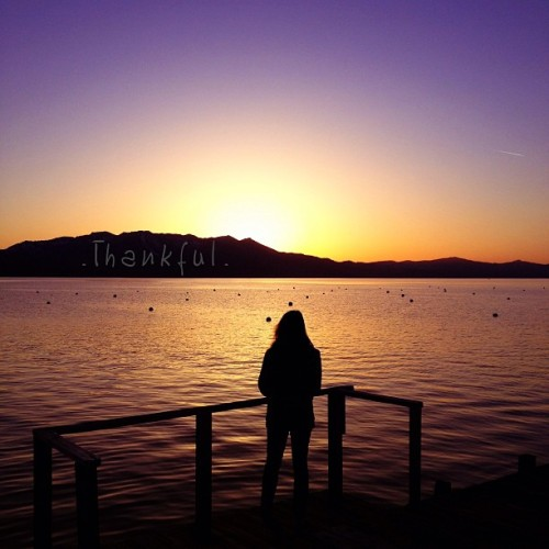 .today i am thankful.// #laketahoe #sunset #silhouette #dock #lake #mountains #girl #me #california #thankful #tahoe #light #omniten  (at Ski Run Marina Village)