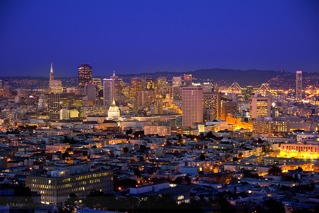 Downtown on Flickr. A zoomed in view of downtown San Fran from Corona Heights after sunset. You can see everything from up here!