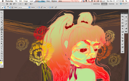 Progress screenshot of the latest. Colours are getting weirder and weirder which seem to be directly proportionate to illustrations getting funner and funner (maybe? I dunno.) I've also started a list in my 'everything' notebook of ideas/techniques/etc that I would like to try or experiment with in my next illustrations with the hopes of further progression with each one (improvement is the name of the game). Sometimes I feel like I think too much about this all but most times I feel like I don't think enough about it. Although lately I do feel like my brain is going to explode with the amount of things I have to finish as well as do/remember/think about. Need a switch off button and a 'pause time so I can recuperate' button. Regardless, I can't wait to finish this!