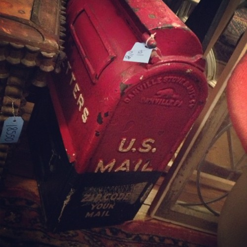 Vintage mail box, with a sticker from the era when zip codes were a novelty requiring constant reminders  to the public. It's also a perfect reminder of the English tendency to turn nouns, even new ones, into verbs: Zip Code Your Mail! #mail #postoffice #antiques