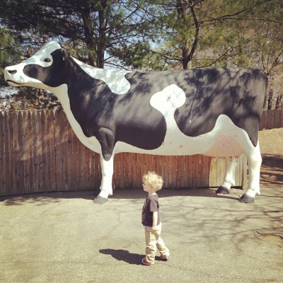 Noah enjoyed the statues more than the real thing. (at Beardsley Zoo)
