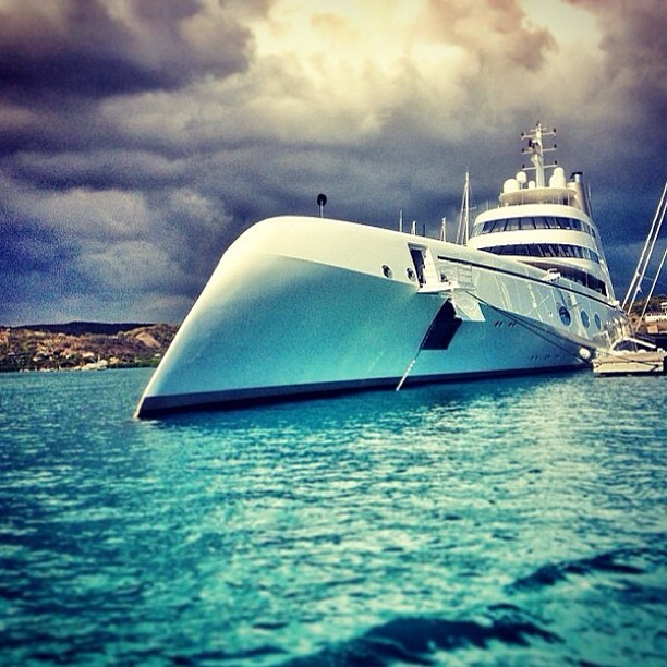 A, 119m(390ft) #blue #water #grey #cloud #cloudy #yacht #yachting #superyacht #sea #boat #big #motorboat #23kts #motor #cool #awesome #goodlife #sail #around #the #world #wave