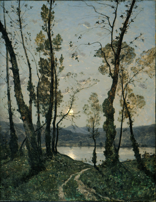 poboh:  Moonlight, 1889, Henri-Joseph Harpignies. French (1819 - 1916)