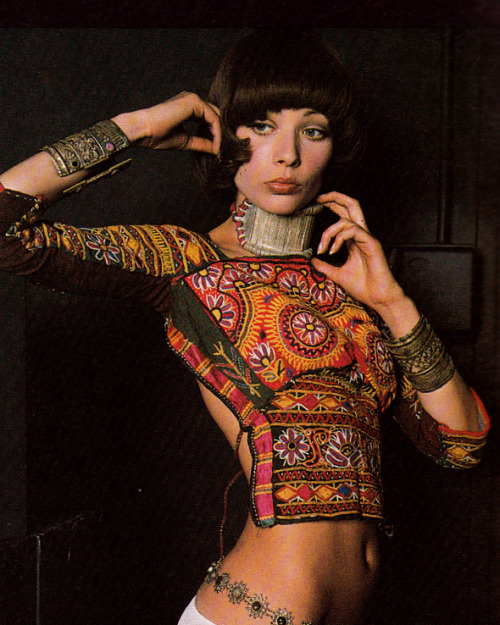 sweetjanespopboutique:  Outfit designed by Zandra Rhodes. Photograph by Peter Knapp. Image scanned by Sweet Jane.