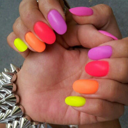 Lets get bright with matte neon nails. - GlamyMe on We Heart It. http://m.weheartit.com/entry/61609410/via/GlamyMe