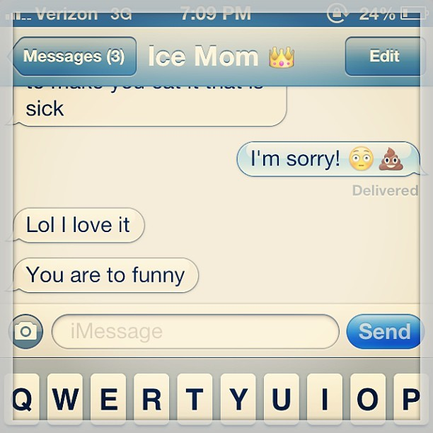 Momma can't stay mad for long. I got this. #instagram #mom #imessage #text (at My Inbox)