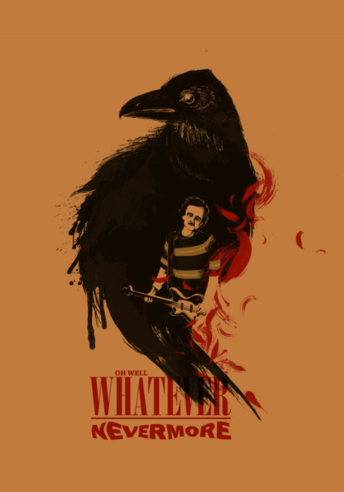 This brilliant Nirvana / Edgar Allan Poe T-shirt design, 'Oh Well, Whatever, Nevermore' by Alan Bao, is up for scoring over at Threadless.com and I highly recommend that everybody goes and gives it a 5!