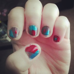 Haven't done my nails in a minute. #nails #red #blue #gray #messy
