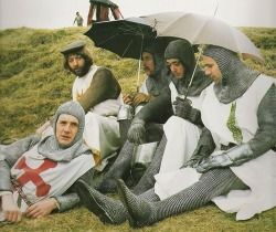 Between takes on the set of Monty Python and the Holy Grail, 1975