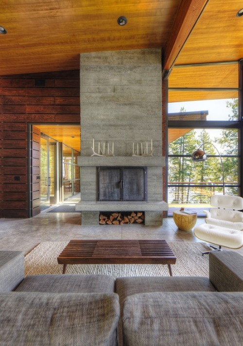 justthedesign:  Living Room At The Lake Residence By Uptic Studios