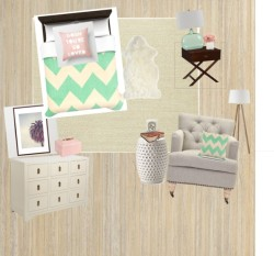 Mint Chevron Bedroom by katymcdonald ❤ liked on PolyvoreCrate & Barrel Island Chevron Cream 8'x10' Rug / G.L.BOWRON & CO LTD Sheepskin Rug / Bubble Ceramic Side Table White / Brentford Seeded Teal Glass Table Lamp / Pottery Barn Devon Campaign Bedside Table / Tripod Wood Floor Lamp / Abbot Small Pink Jewelry Case / diptyque 'Mimosa' Scented Candle / Vintage Style Journal, Diary, Guest Book- Blank vintage style pages