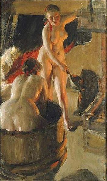 Girls from Dalarna Having a Bath - Anders Zorn (1860-1920)