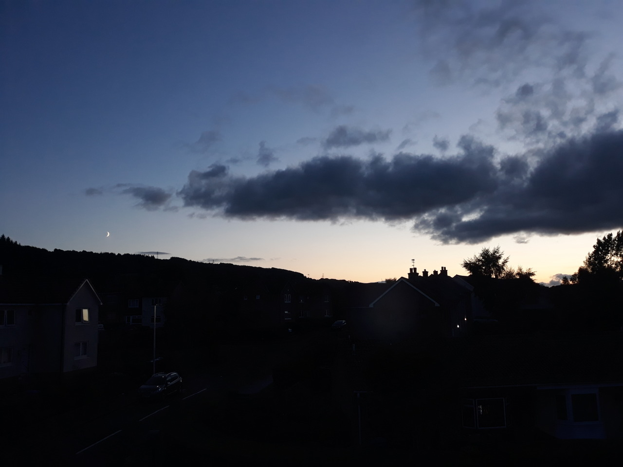 8.01pm, 09/21 #sky#clouds#weather#sunset#moon#crescent moon #photographers on tumblr #phone camera#unedited