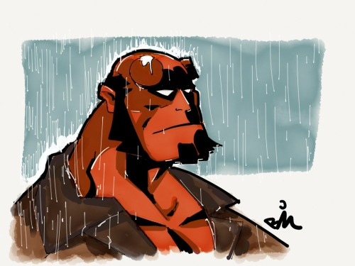 A little rain never stopped Hellboy. Made with Paper