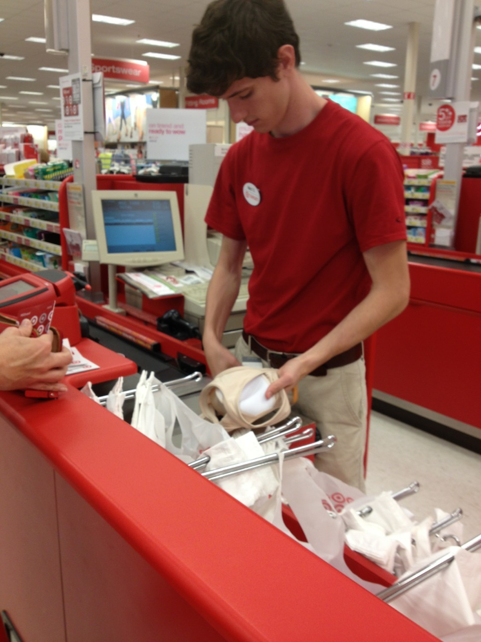 yugoswagic:  hot guy at target bagging my bra