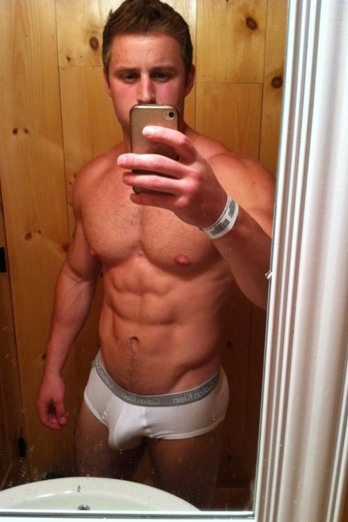Cute guy with big bulge and big nipples.